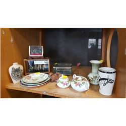 SHELF LOT OF COLLECTIBLE POTTERY AND SHADOW BOXES PARAGON TAPESTRY CREAM AND SUGAR ETC