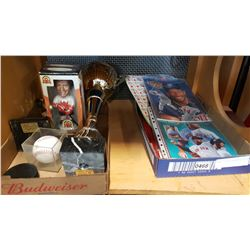 2 TRAYS OF SPORTS MEMORIBILIA