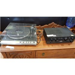 TOSHIBA RECORD PLAYER AND AKAI STEREO AMPLIFIER