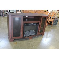 MODERN ENTERTAINMENT STORAGE CABINET WITH BUILT IN ELECTRIC FIREPLACE