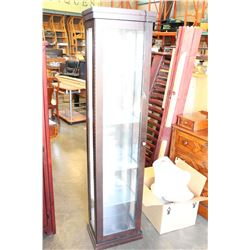 6 FOOT TALL MODERN DARK FINISH GLASS DOOR DISPLAY CABINET