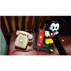 MICKEY MOUSE PHONE AND ROTARY PHONE