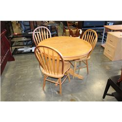 ROUND OAK TABLE WITH 3 CHAIRS AND LEAF