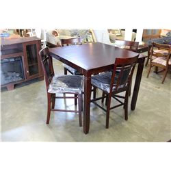 NEW MODERN PUB HEIGHT DARK FINISH DINING TABLE AND 4 LEATHER SEAT BAR STOOLS RETAIL $549