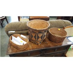 THREE FIRST NATIONS WOVEN BASKETS