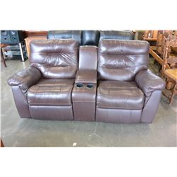ROCKING RECLINING LEATHER LOVE SEAT W/ CONSOLE