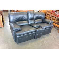 BLACK LEATHER RECLINING AND ROCKING LOVESEAT WITH CENTER CONSOLE