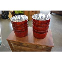 10 RED GLASS PLANTERS