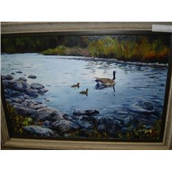 ACRYLIC PAINTING G FOR GOOSE, SIGNED BY ARTIST