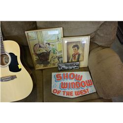 3 VINTAGE PICTURES AND CARDBOARD SIGN