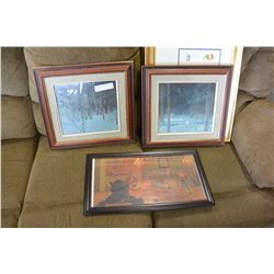 2 FRAMED WOLF PRINTS AND 2 OTHER PICTURES
