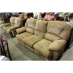 ASHLEY FURNITURE UPHOLSTERED SOFA AND LOVE SEAT - RECLINING