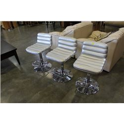 3 SILVER FABRIC GAS LIFT CHROME BARSTOOLS