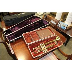 HUTTS TRUMPET IN CASE AND TROMBONE CASE