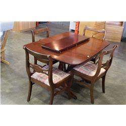 DUNCAN PHYFE DROP LEAF DINING TABLE W/ 4 CHAIRS