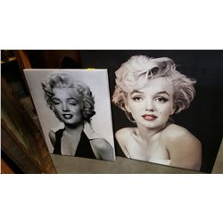 TWO MARILYN MONROE PRINTS ON CANVAS