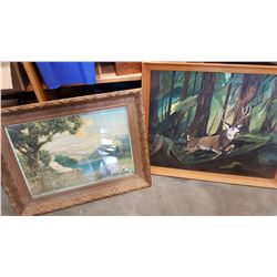 MID CENTURY DEER PAINTING AND ANTIQUE FRAMED PRINT