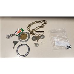 MENS WATCH CHAIN RING AND MONEY CLIP AND BAG OF TOKENS ETC