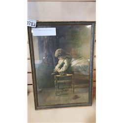 ANTIQUE FRAMED PRINT OF CHILD