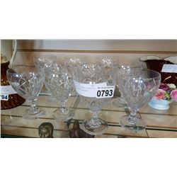SET OF TEN ETCHED CRYSTAL MIKASA WINE GLASSES