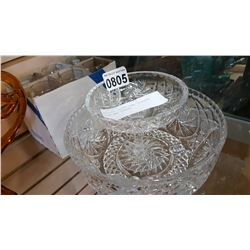 PINWHEEL CRYSTAL FOOTED BOWL, PEDASTAL DISH AND GLASSES