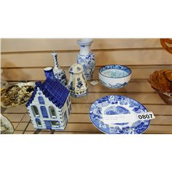 LOT OF DELFT AND FLOW BLUE PIECES OF DECOR