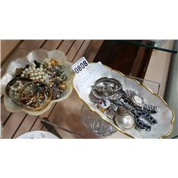 TWO SHELL TRAYS OF JEWELLRY WATCHES BANGLES ETC