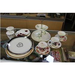 CHINA CUPS SAUCERS AND SERVING PIECES