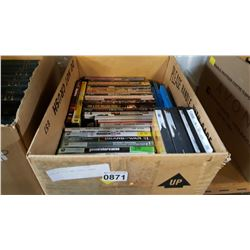 BOX OF DVDS AND VIDEO GAMES