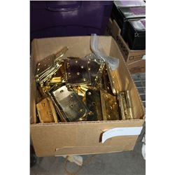 BOX OF BRASS HINGES