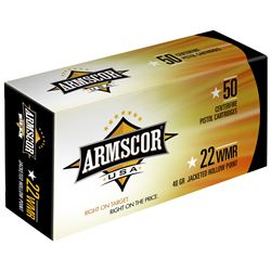 200 Rounds 22MAG, Armscor, 22WMR, 40 Grain, Jacketed Hollow Point, ARMFAC22M1N