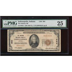 1929 $20 Indiana Nation Bank Note PMG 25