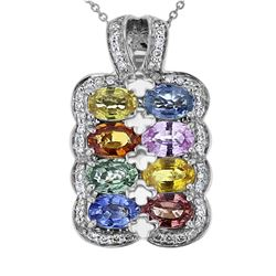 18KT White Gold 5.03ctw Multi Color Sapphire and Diamond Pendant with Chain