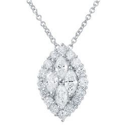 14KT White Gold 0.73ctw Diamond Pendant with Chain