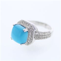 14KT White Gold 4.35ct Turquoise and Diamond Ring