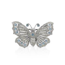 14KT White Gold 0.67ctw Blue Topaz and Diamond Brooch