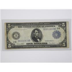 1914 USA $5.00 Blue Seal. (F) (SSR)