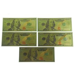 5x USA $100.00 Collector Note in 24kt Gold Leaf