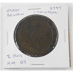 Great Britain - 1797 Cartwheel 2 Pence Coin KM619