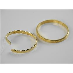 Lot (2) 24kt Gold Overlay - Bangle Bracelets.
