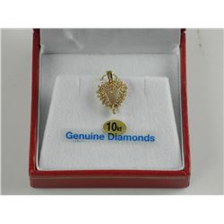 (BB22) Ladies 10kt Gold - 29 Diamond Heart Pendant