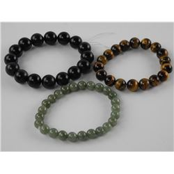 Lot (3) Genuine Jade, Tiger Eye and Onyx Bead Brac