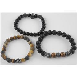 Lot (3) Bead and Lava Stone Flex Bracelets