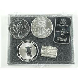 Lot (5) .999 - .9999 Pure Silver Bullion - Collect