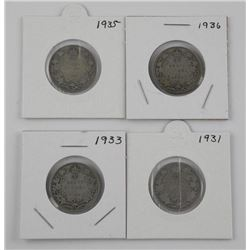 Lot (4) CAD Silver 25 Cent: 1931, 1933, 1935, 1936