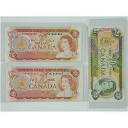 Lot (3) Bank of Canada Notes. 2x 1974 2.00 and 1x