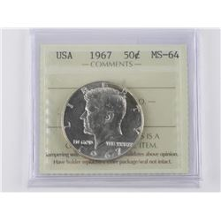 USA 1967 Kennedy 50 Cent. ICCS. MS-64. (ER)