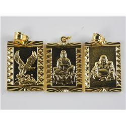 Lot (3) 24kt Gold Overlay Pendants, Buddha, Eagle,