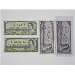 Lot (4) Bank of Canada 1954 $10.00 & $20.00 Devil'