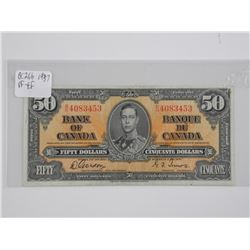 Bank of Canada 1937 - Fifty Dollar Note. VF-EF. BC